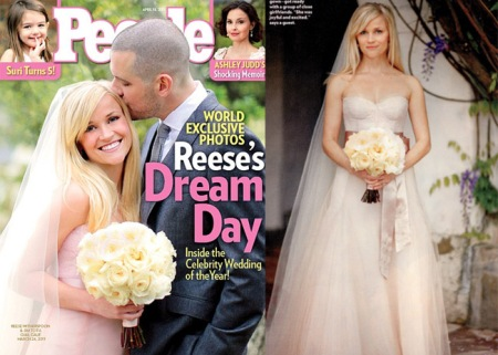 reese witherspoon pink monique lhuillier wedding dress