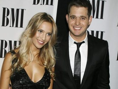 Canadian singer Michael Buble poses with girlfriend Lopilato at the 57th Annual BMI Pop Awards in Beverly Hills